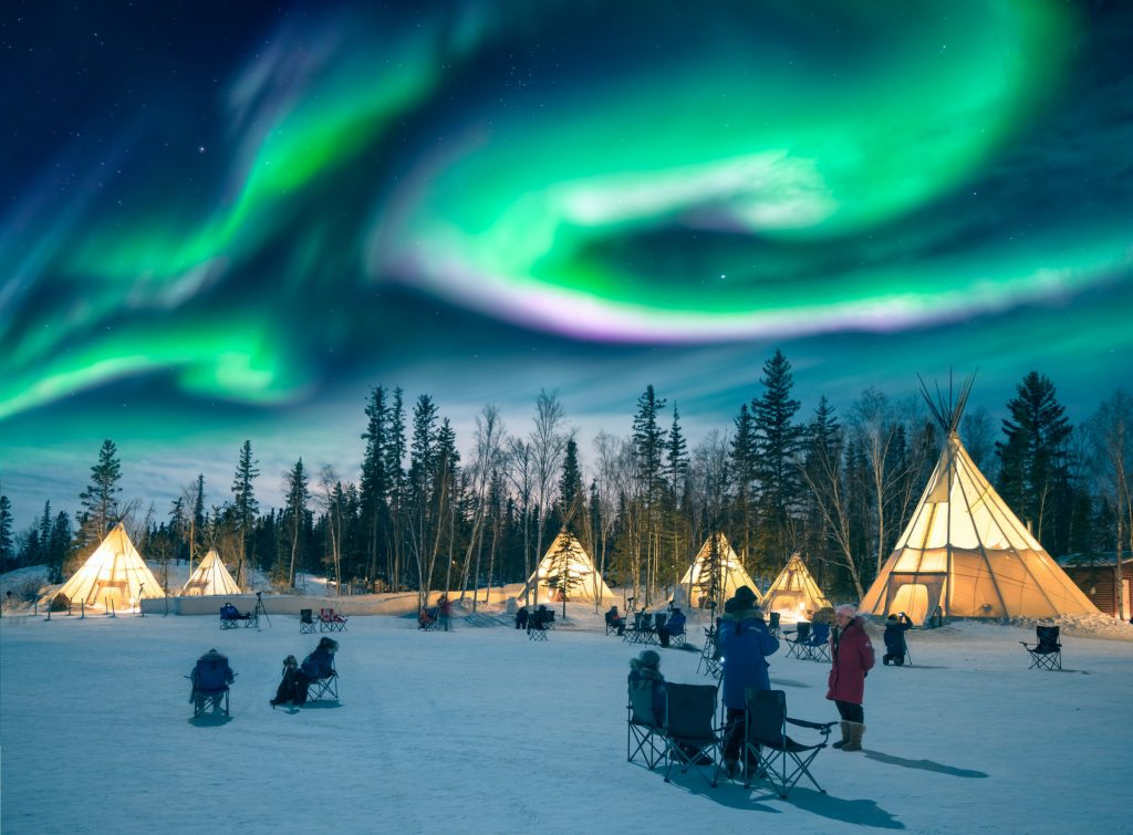 Northern lights in Winters Finland