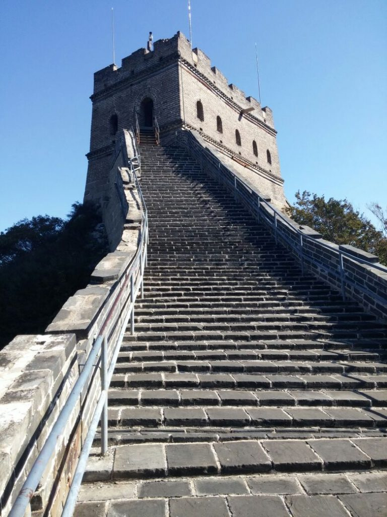 Steep side of Great wall of China